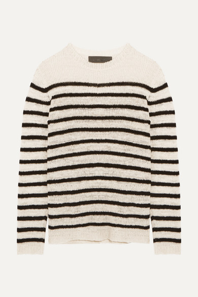 The Elder Statesman - Picasso Striped Cashmere Sweater - White