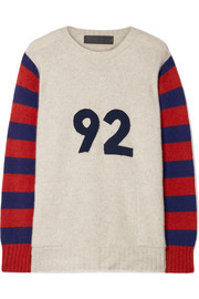 Fast Ocean appliquéd striped cashmere sweater