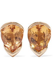 Fernando Jorge Bloom 18-karat gold, topaz and diamond earrings