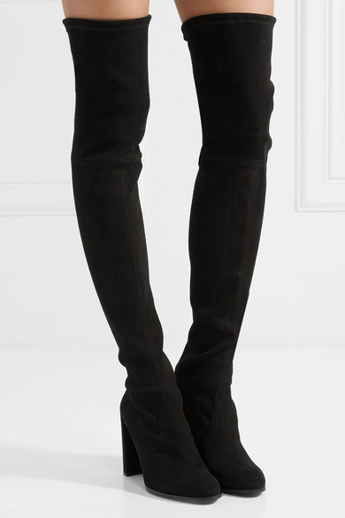 ee9fc62e42a Stuart Weitzman. Hiline stretch-suede over-the-knee boots