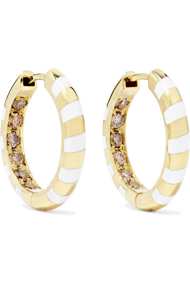 Alice Cicolini - Memphis Candy 14-karat Gold, Diamond And Enamel Hoop Earrings