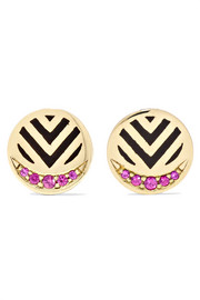 Memphis Chevron 14-karat gold, ruby and enamel earrings