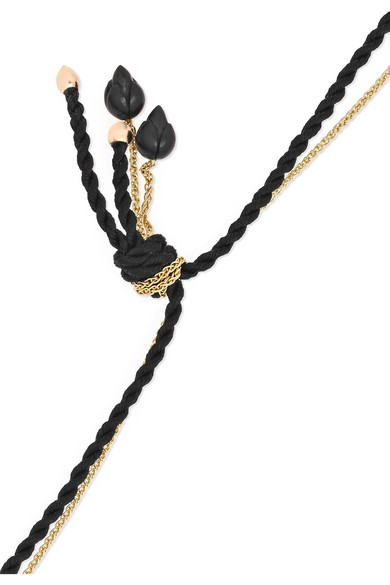 Temple Tassel 9-karat Gold, Silk And Ebony Necklace - Black Alice Cicolini