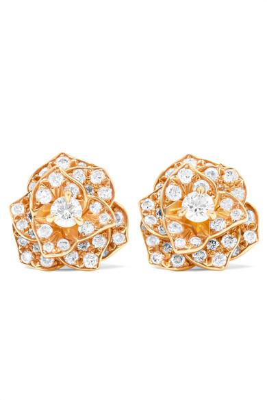 Piaget - Rose 18-karat Rose Gold Diamond Earrings