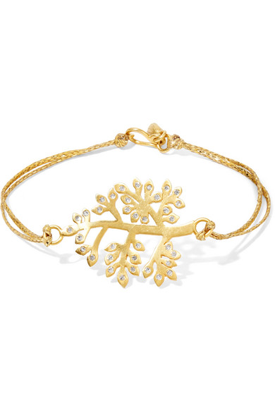 Pippa Small - 18-karat Gold, Diamond And Cord Bracelet
