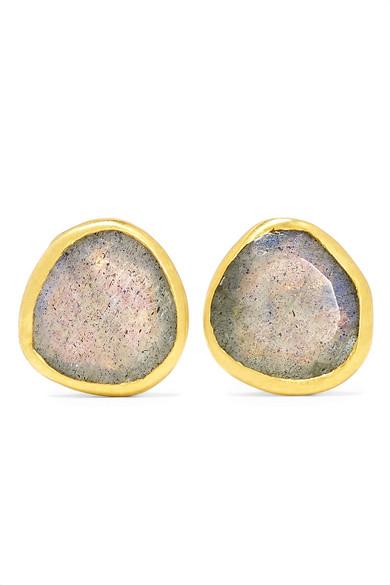 PIPPA SMALL 18-KARAT GOLD LABRADORITE EARRINGS