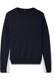 Adam Lippes Poplin-paneled merino wool sweater