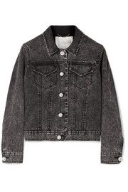 Adam Lippes Faux pearl-embellished stretch-denim jacket