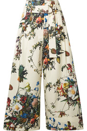Adam Lippes Cropped floral-print cotton-poplin wide-leg pants
