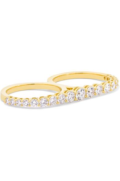 MELISSA KAYE Aria 18-Karat Gold Diamond Two-Finger Ring