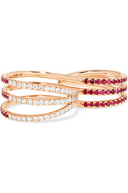18-karat rose gold, ruby and diamond two-finger ring