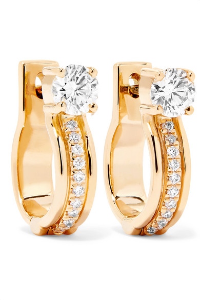 Melissa Kaye - Jen Maia Small 18-karat Gold Diamond Hoop Earrings