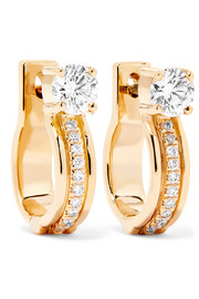 Jen Maia small 18-karat gold diamond hoop earrings