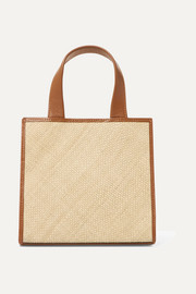 Raffia and leather tote