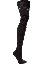 Intarsia-knit knee-high socks