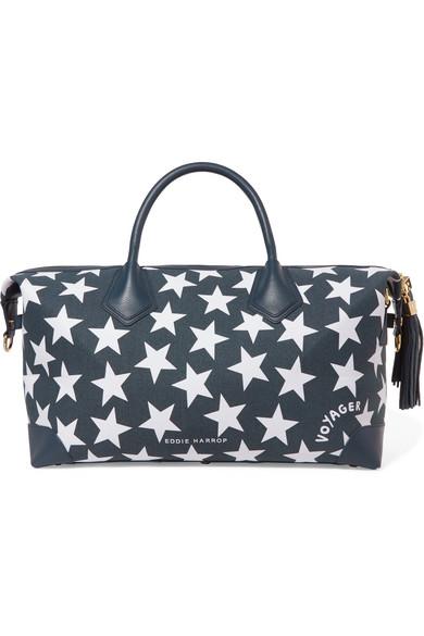 Voyager Leather-trimmed Canvas Weekend Bag - Navy Eddie Harrop 4loxP52M