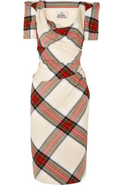 Vivienne Westwood Virginia draped tartan cotton dress