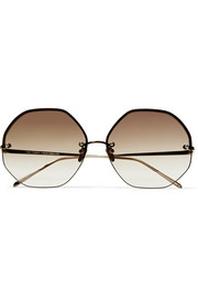 Octagon-frame gold-plated sunglasses