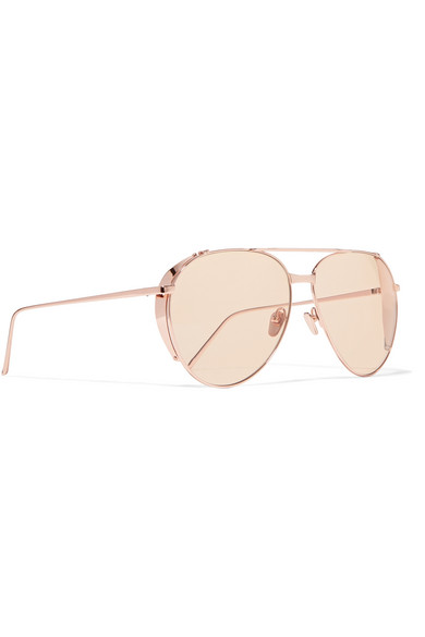 11781e06807 Linda Farrow. Aviator-style rose gold-plated sunglasses
