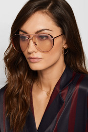 Linda Farrow Aviator-style rose gold-plated sunglasses