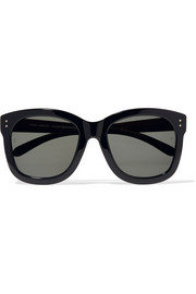 Square-frame acetate and wood sunglasses