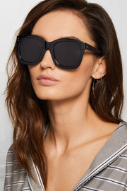 Linda Farrow Square-frame acetate and wood sunglasses
