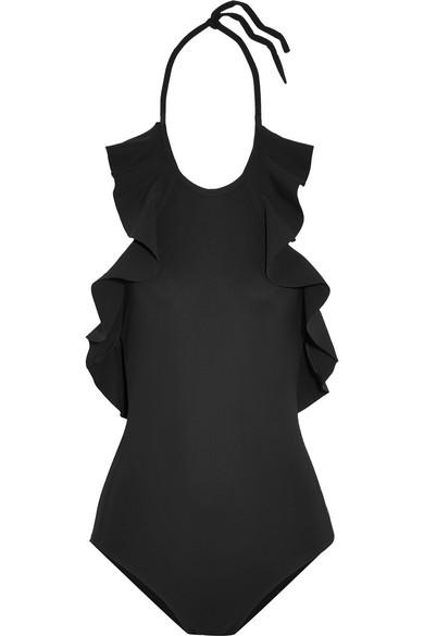 Karla Colletto - Zaha Ruffled Halterneck Swimsuit - Black