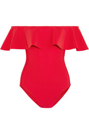 Karla Colletto Zaha off-the-shoulder ruffled swimsuit