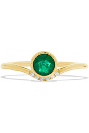 Wave 14-karat gold, emerald and diamond ring