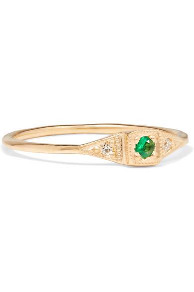 Jennie Kwon Designs Wave 14-karat Gold, Emerald And Diamond Ring