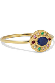 Halo 14-karat gold multi-stone ring