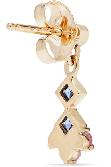 Momentum 14-karat Gold, Aquamarine And Sapphire Earring - one size Jennie Kwon Designs