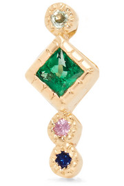 Journey 14-karat gold, emerald and sapphire earring
