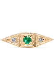 Deco Point 14-karat gold, emerald and diamond earring