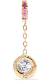 Rainbow Hope 14-karat gold, diamond and sapphire earring