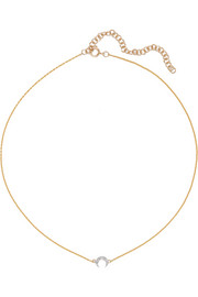 Crescent Moon 18-karat gold diamond choker