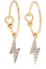 Lightning Bolt 14-karat gold diamond earrings