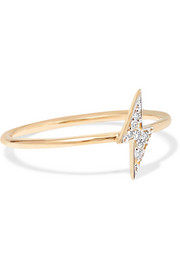 Lightning 14-karat gold diamond ring