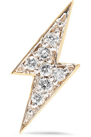 Lightning Bolt 14-karat gold diamond earring