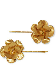 Jennifer Behr Set of two gold-plated hair slides