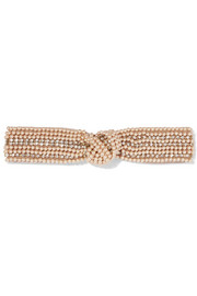 Swarovski pearl and crystal-embellished satin headband