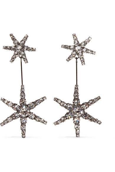 Jennifer Behr - Estee Gunmetal-plated Swarovski Crystal Earrings - Silver