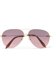 Classic Victoria aviator-style acetate and gold-tone sunglasses
