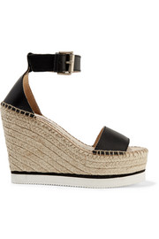 Leather espadrille wedge sandals