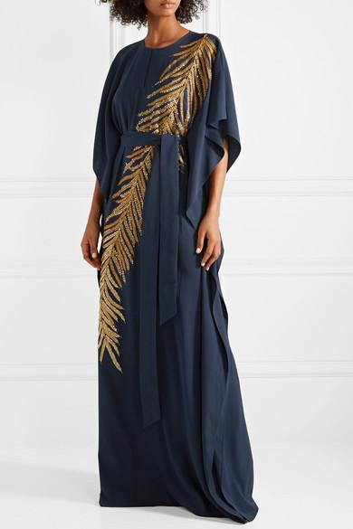 Oscar de la Renta Verzierte Robe aus Stretch-Seide