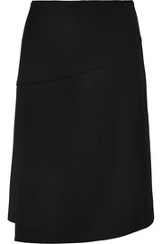 Wrap-effect twill skirt
