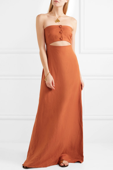 Adriana Degreas Strapless Maxi Dress In A Linen Mix With Cut-out