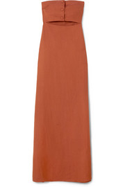 Strapless cutout linen-blend maxi dress