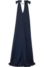 Cotton and linen-blend maxi dress