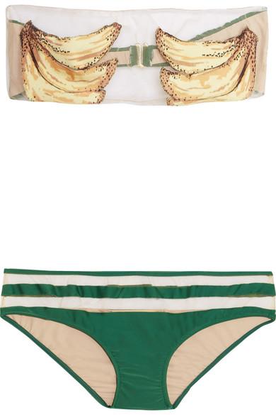 Adriana Degreas Banana bedruckter Bandeau-Bikini mit Mesh-Einsätzen